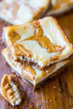 Peanut Butter-Swirled Cheesecake Bars with Brown Sugar-Graham Cracker Crust
