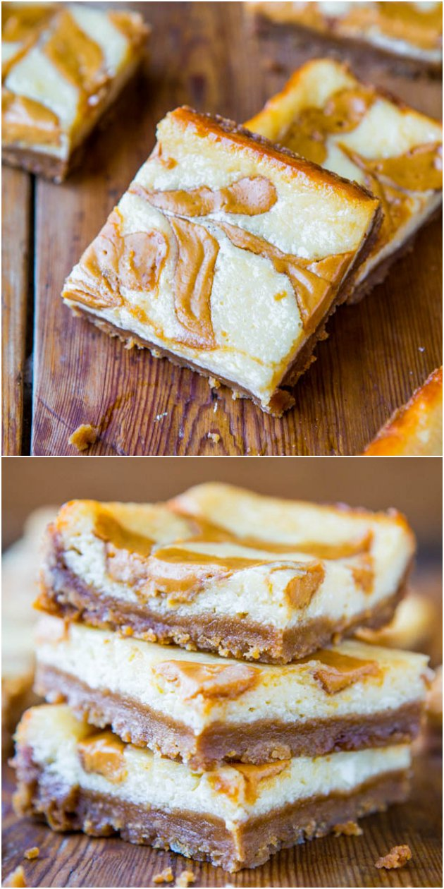 Peanut Butter-Swirled Cheesecake Bars with Brown Sugar-Graham Cracker Crust - The crust is the best part of these easy bars. Okay, no, the big peanut butter swirls are!