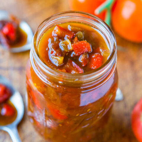 One-Hour Sweet with Heat Tomato and Pepper Chutney (vegan, gluten-free)