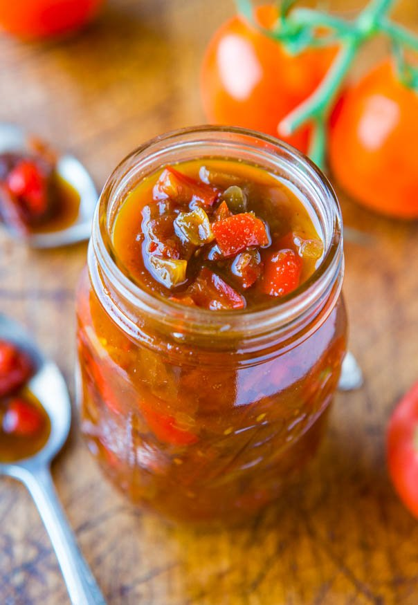 One-Hour Sweet with Heat Tomato and Pepper Chutney - Easy Recipe at averiecooks.com