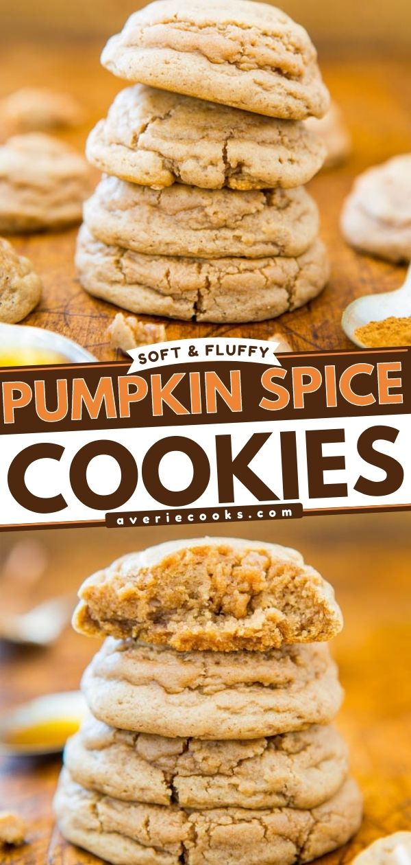 Pumpkin Spice Cookies— These pumpkin spice cookies are made without pumpkin puree but are full of flavor thanks to the pumpkin pie spice! These are so soft and fluffy!