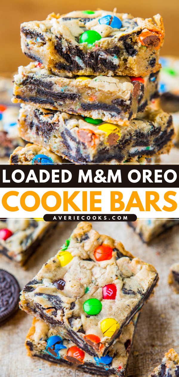Loaded M&M's Oreo Bars — Stuffed to the max with M&M's and Oreos! These Oreo cookie bars are an easy, no-mixer recipe that's ready in 30 minutes. Always a hit at parties!