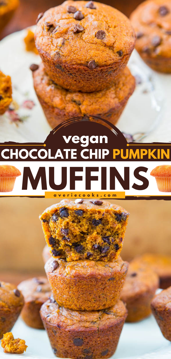 Chocolate Chip Vegan Pumpkin Muffins — These vegan pumpkin muffins are studded with mini semi-sweet chocolate chips. Plus, they're packed with five different warming spices, which makes then extra flavorful!