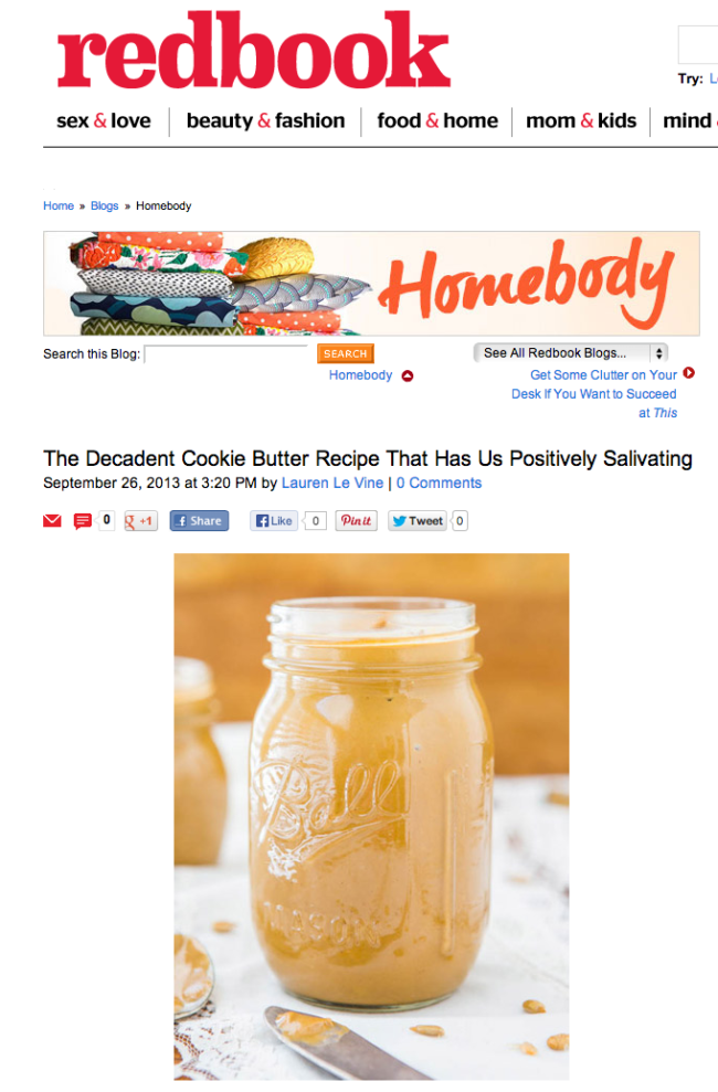 Redbook Magazine featured myHomemade White Chocolate and Butterscotch Sunflower Seed Butter(G
