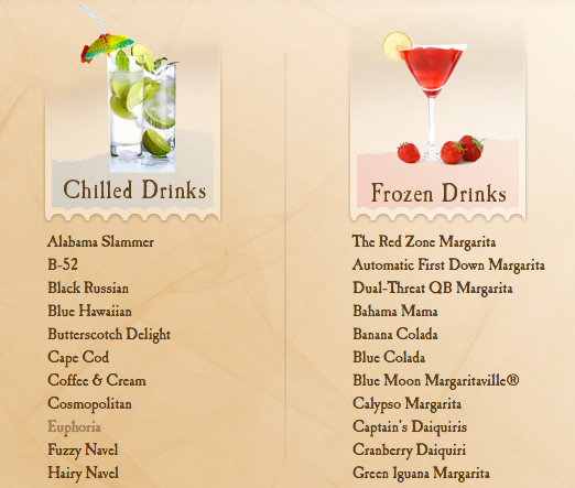 A list of chilled and frozen cocktails