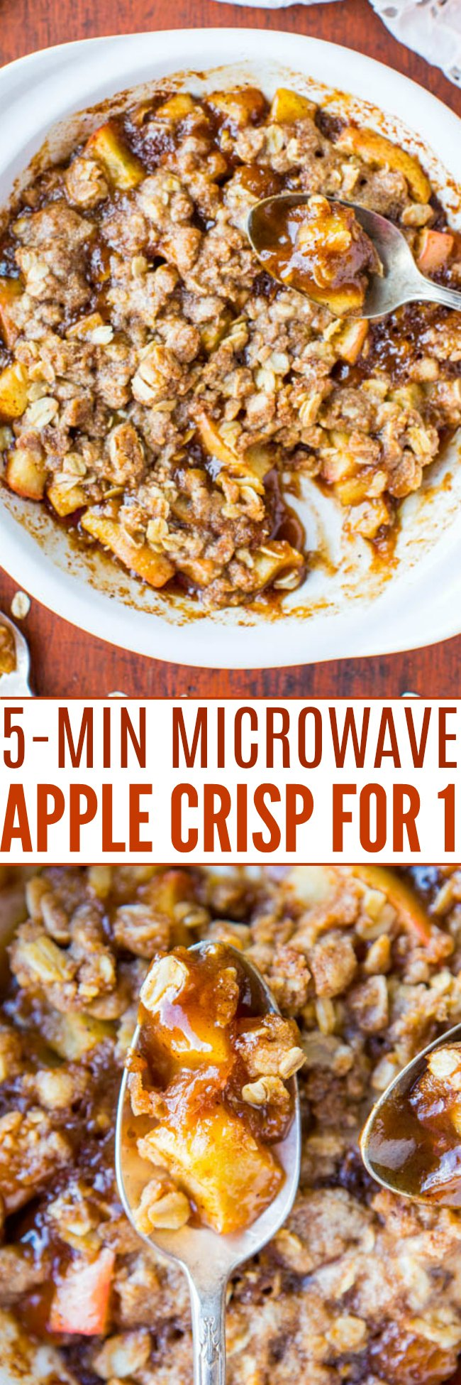 Microwave Apple Crisp — This microwave apple crisp comes together in just 5 minutes and generously serves one person. Top it with a scoop or ice cream or whipped cream!