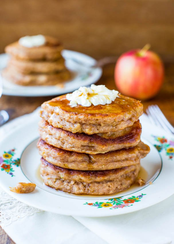 stack of Apple cinnamon Pancakes with Vanilla Maple Syrup