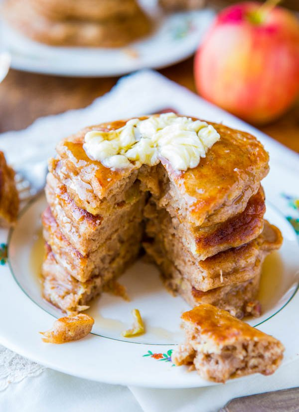 stack of Apple Pancakes with Vanilla Maple Syrup and butter