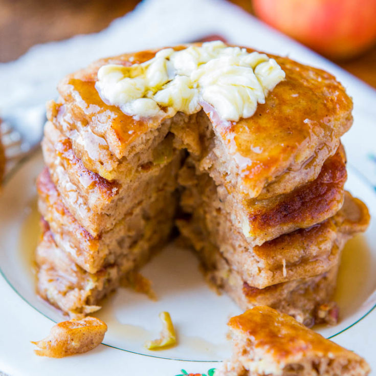 Cinnamon Apple Pancakes (with Vanilla Maple Syrup!) - Averie Cooks