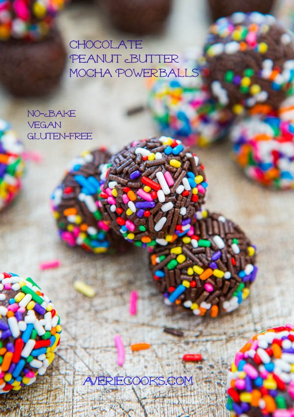Chocolate Peanut Butter Mocha Powerballs (no-bake, vegan, gluten-free) - Easy Recipe at averiecooks.com
