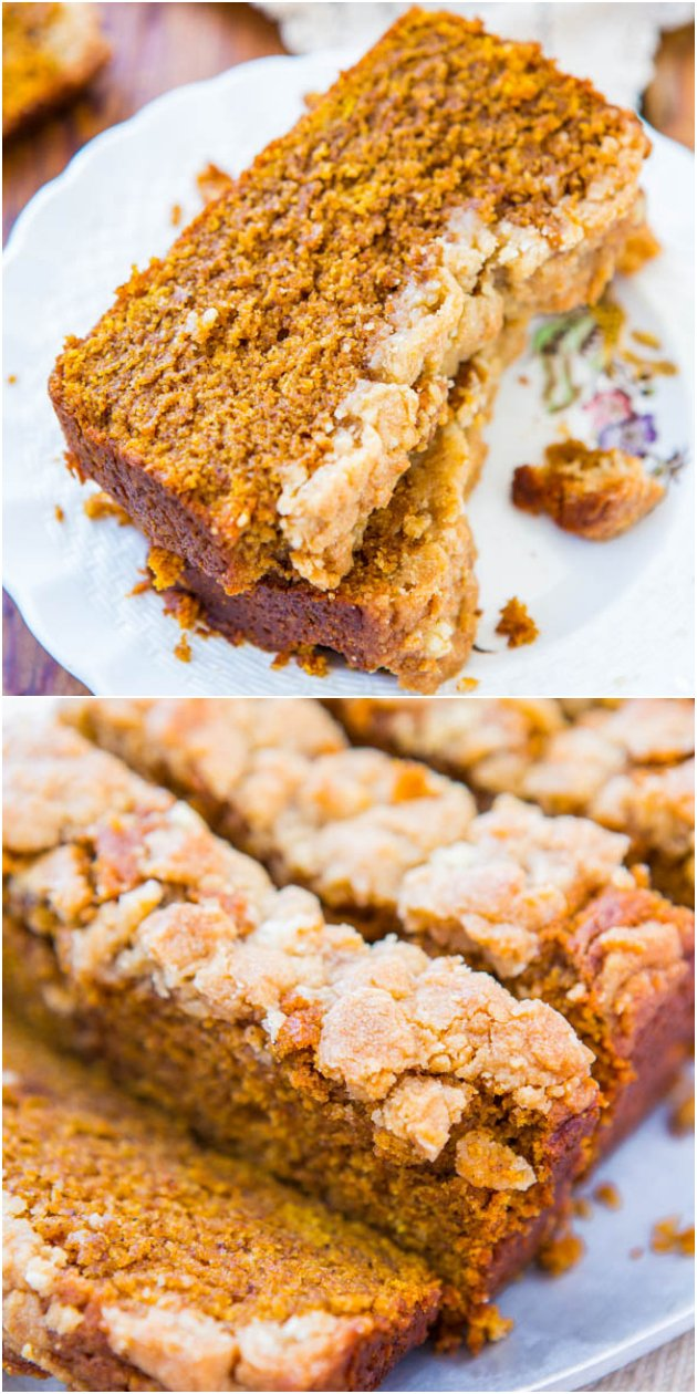 Soft Vegan Pumpkin Bread with Brown Sugar Streusel Crust — You won't miss the eggs or the butter! The crust is to-die-for good!!