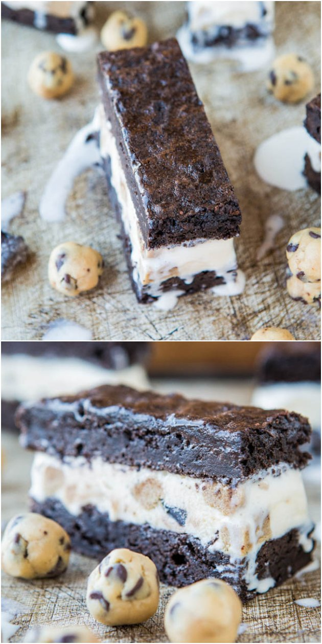 Fudgy Brownie Cookie Dough Ice Cream Sandwiches - Homemade fudgy brownies with cookie dough ice cream with extra homemade (safe-to-eat-raw) cookie dough balls! So good!