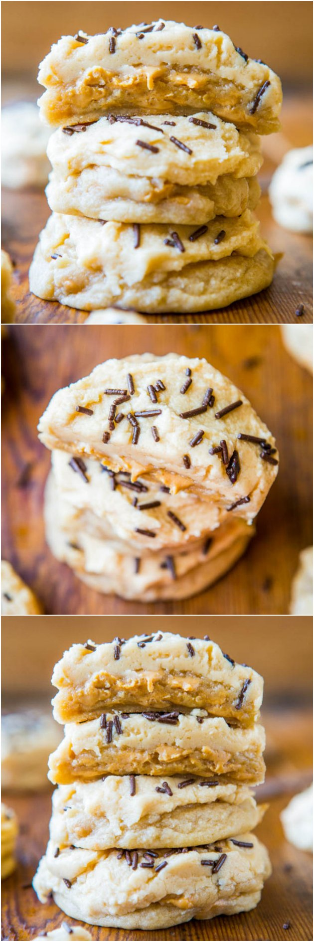 Lofthouse-Style Soft Peanut Butter Chip Sugar Cookies with Peanut Butter Frosting - Same soft texture as real Lofthouse cookies, but with PEANUT BUTTER! Easy recipe at averiecooks.com