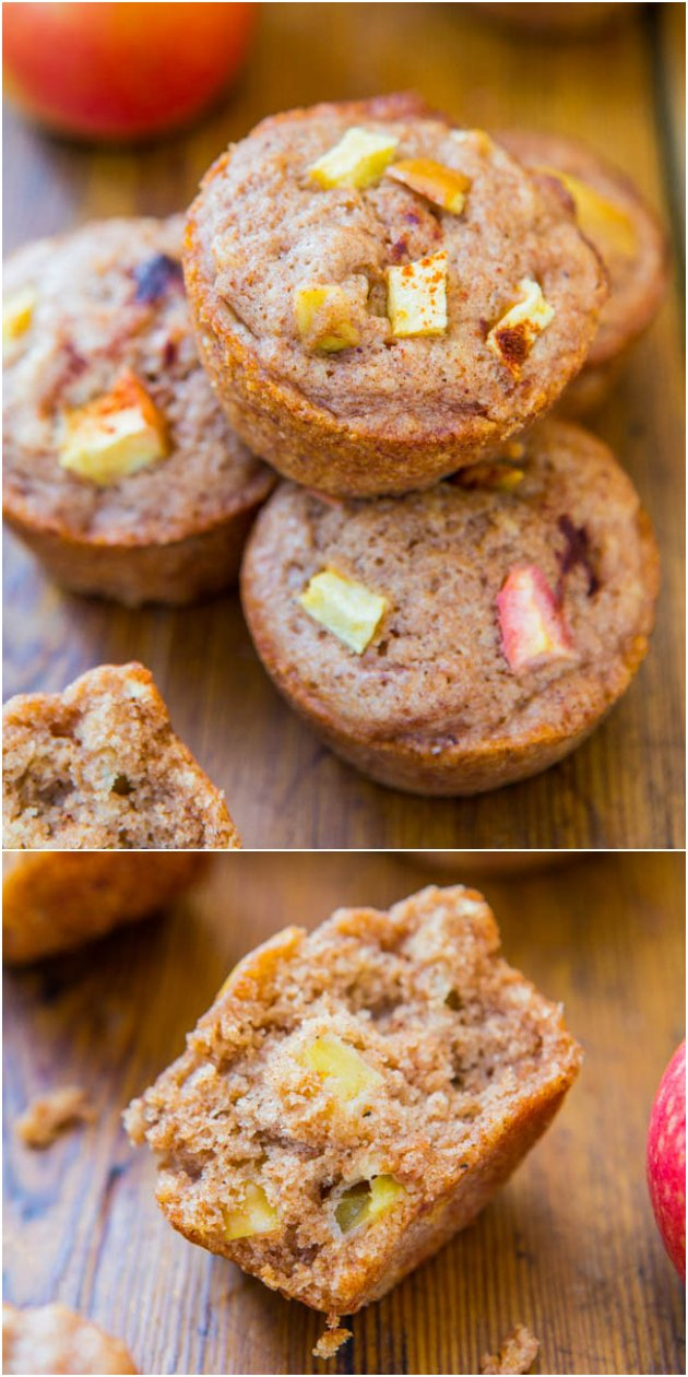 Vegan Chunky Apple Cinnamon Muffins - You'll never miss the eggs or butter in these easy, healthy muffins loaded with apples & cinnamon!