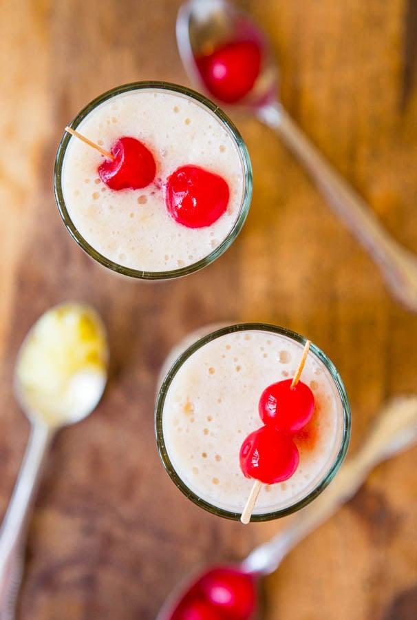 Skinny Pina Colada Smoothie (vegan, gluten-free) - Under 100 Calories - Easy Recipe at averiecooks.com