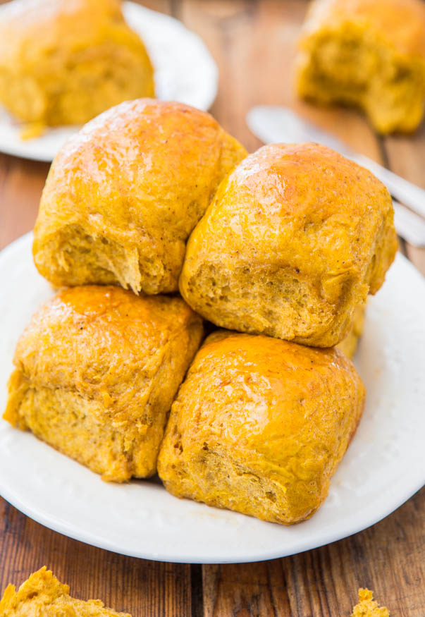 Honey Butter Pumpkin Dinner Rolls - Big, soft rolls brushed with honey butter are the best! Everyone loves them and they disappear so fast!
