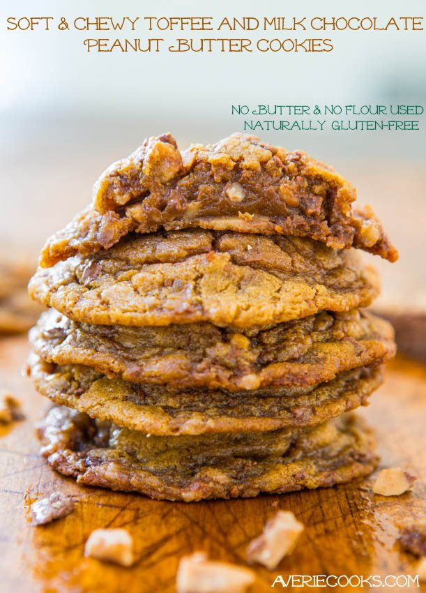 Peanut Butter Toffee Bit Cookies — You need just 6 simple ingredients to make these toffee cookies! The peanut butter cookie dough is accidentally gluten-free and packed with toffee bits!