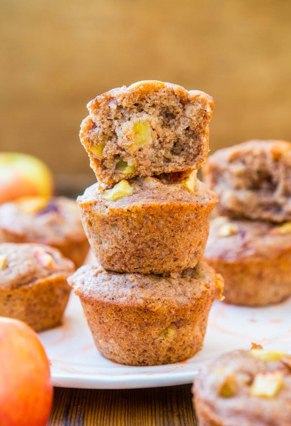 Vegan Chunky Apple Cinnamon Muffins - Easy, No-Mixer Recipe for Soft Muffins at averiecooks.com