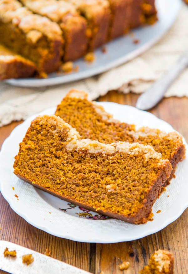 two slices of pumpkin streusel bread on a white plate