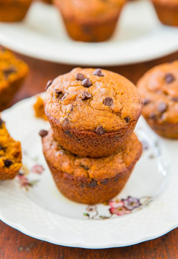 Chocolate Chip Vegan Pumpkin Muffins on white floral plate