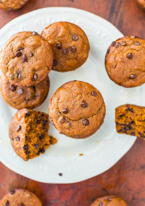 Vegan Chocolate Chip Pumpkin Muffins - You'll never miss the eggs or butter! Easy, soft, fluffy and the best pumpkin muffins ever!