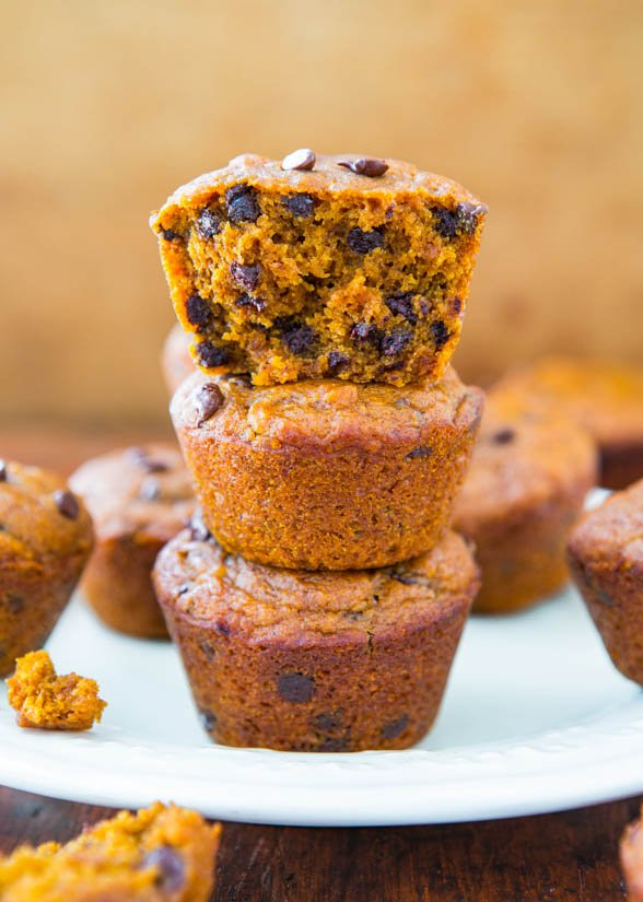 stack of three Chocolate Chip Vegan Pumpkin Muffins