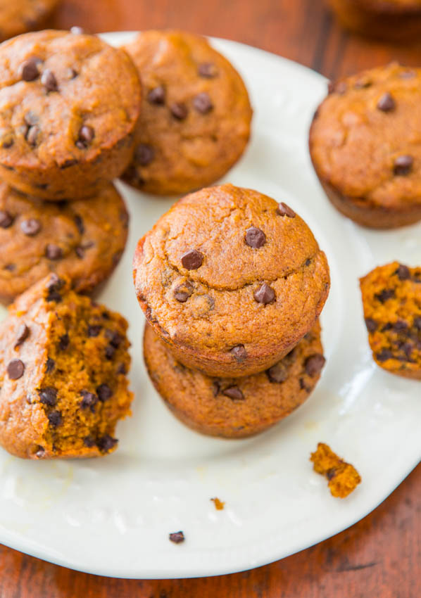 Chocolate Chip Vegan Pumpkin Muffins on white plate