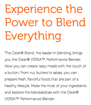 Description of Oster® VERSA® Performance Blender