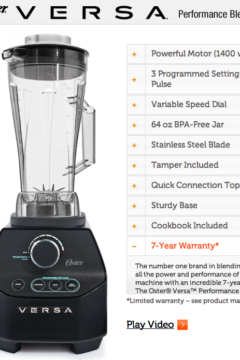 Oster VERSA Performance Blender Giveaway ($300 Value) + 20 Favorite Blender Recipes