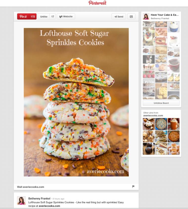 Pinterest page of Bethenny Frankel pinned my Lofthouse Soft Sugar Sprinkles Cookies