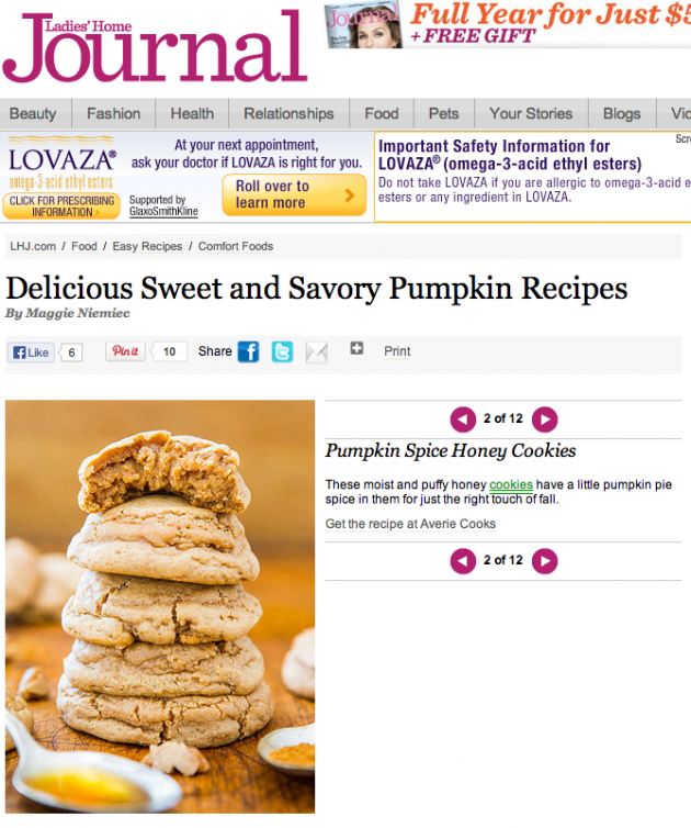 Ladies Home Journal screenshot of Pumpkin Spicy Honey Cookies