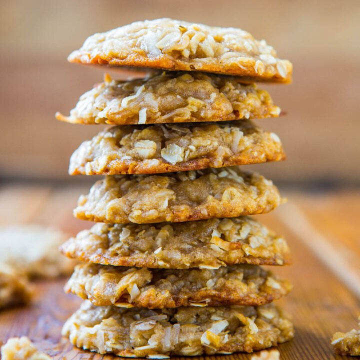Chewy Oatmeal Coconut Brown Sugar Cookies {Anzac Biscuits}