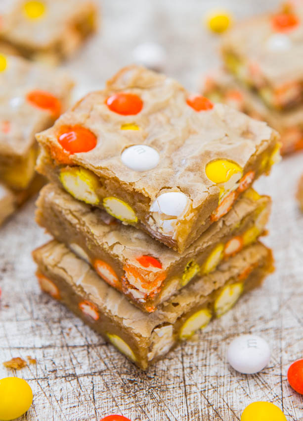 Candy Corn White Chocolate M&M Blondies - Fast, Easy, One-Bowl, No-Mixer Recipe at averiecooks.com