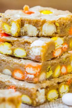 Candy Corn White Chocolate M&M Blondies