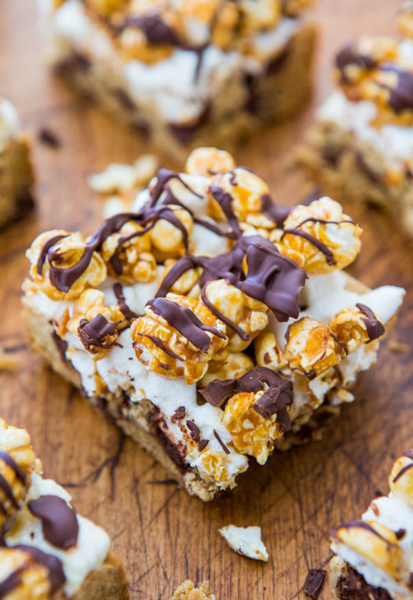 Caramel Corn Marshmallow Chocolate Chip Cookie Bars - 3 Layers of flavor & texture in these fast, easy, no-mixer bars from averiecooks.com
