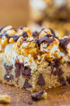 Caramel Corn Marshmallow Chocolate Chip Cookie Bars