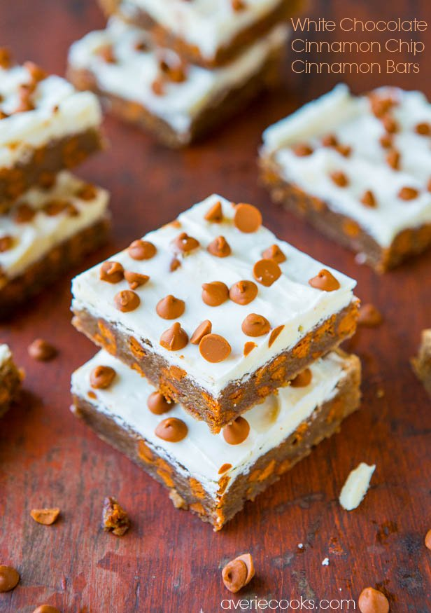 White Chocolate-Topped Cinnamon Chip Cinnamon Bars - Bursting With Big Cinnamon Flavor - Recipe at averiecooks.com