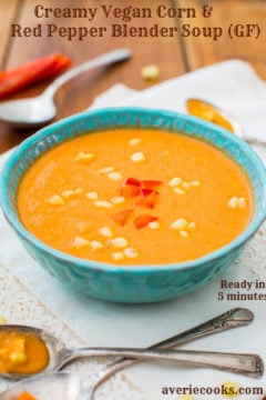 Creamy Vegan Corn and Red Pepper Blender Soup