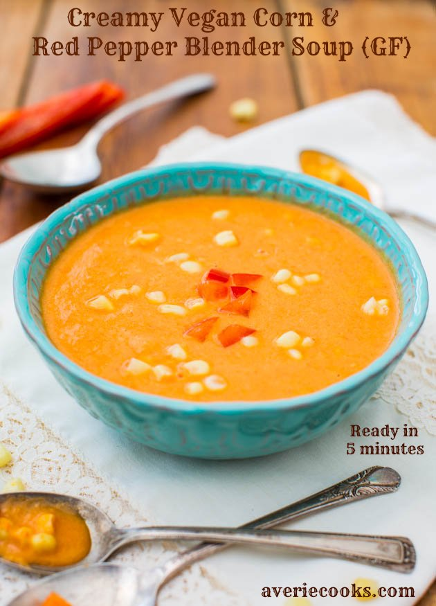Creamy Vegan Corn & Red Pepper Blender Soup (gluten-free, soy-free, no added salt) - Ready in 5 Minutes and Packed with Flavor