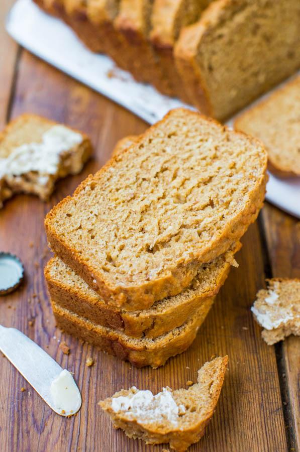 Honey Maple Beer Bread - No Yeast, No-Knead, Easy Bread Recipe at averiecooks.com