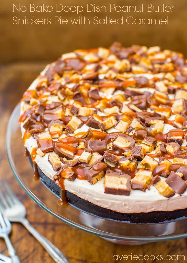 No-Bake Deep Dish Peanut Butter Snickers Pie on a glass pedestal
