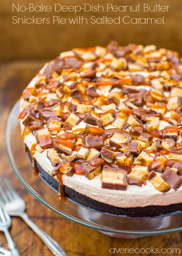 no bake snickers pie on glass cake stand