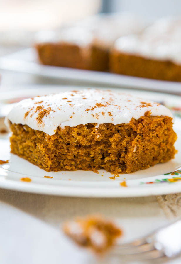 Soft Vegan Pumpkin Cake with Pumpkin Spice Buttercream Frosting - Fast, easy cake you'll never guess is vegan. Recipe at averiecooks.com