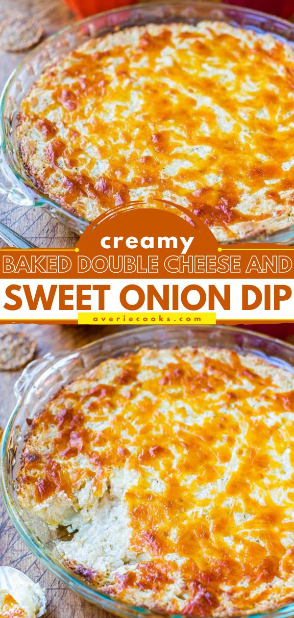 Creamy Baked Onion Dip — A cheesy, comforting, and easy dip that everyone loves! Made with cream cheese and sweet Vidalia onions!