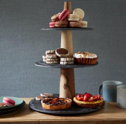 Slate + Wood 3-Tier Dessert Tray