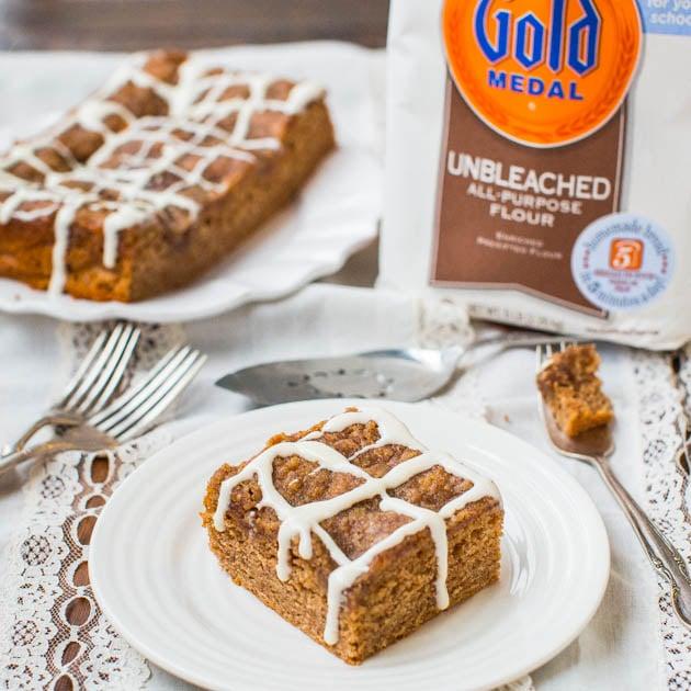 Brown Sugar-Topped Cinnamon-Sugar Coffee Cake with Vanilla Cream Cheese Glaze - Fast, Easy, No-Mixer Recipe on averiecooks.com