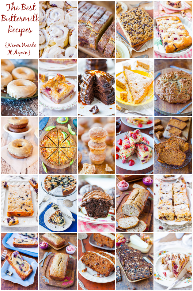 The Best Buttermilk Recipes - Now you know what to do with it so you'll never waste it again! 25+ easy recipes for cakes, breaeds, muffins, donuts & more at averiecooks.com