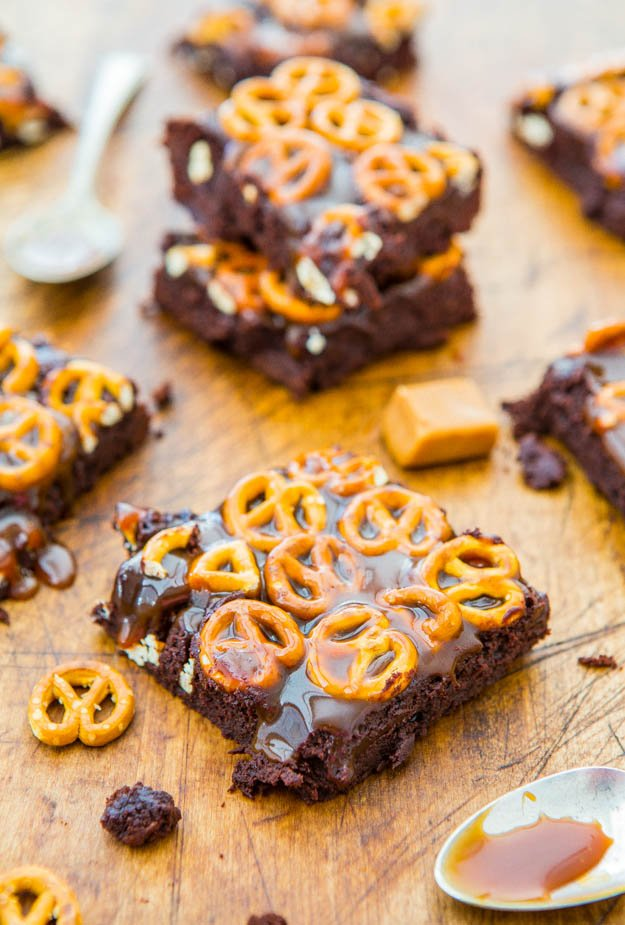 Salted Caramel Pretzel-Topped Fudgy Brownies - Super fudgy scratch brownies as easy as a mix. Easy, no-mixer recipe at averiecooks.com
