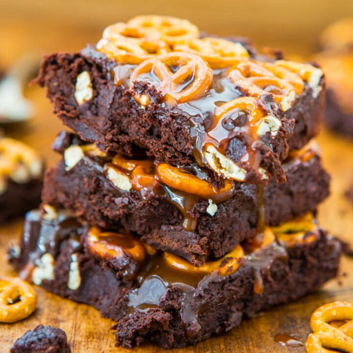Salted Caramel Pretzel-Topped Fudgy Brownies