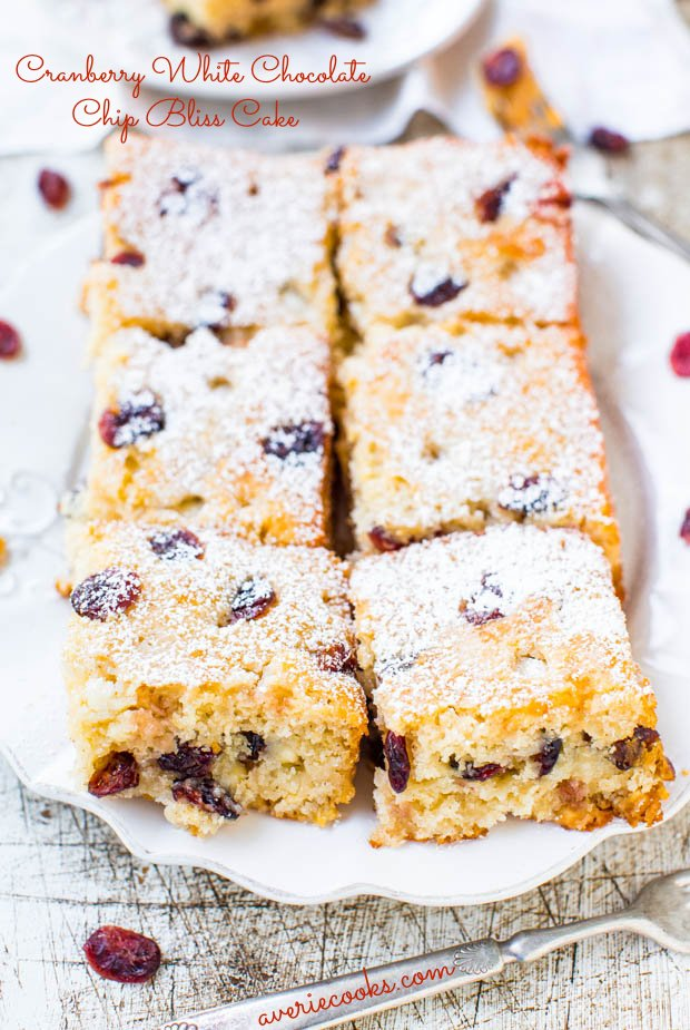 Cranberry White Chocolate Chip Bliss Cake - The flavors of Starbucks Cranberry Bliss Bars in a Soft, Easy, No-Mixer Cake! Recipe at averiecooks.com